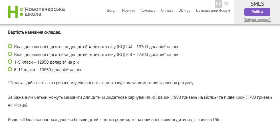 Стоимость обучения в Новопечерской школе