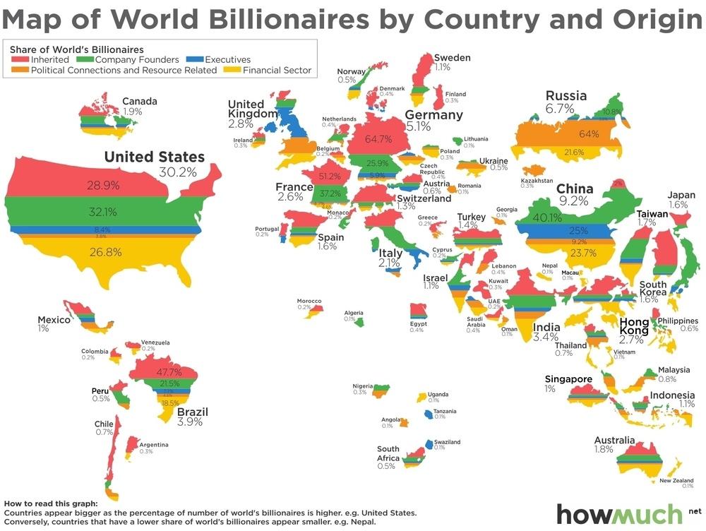 Карта миллиардеров мира