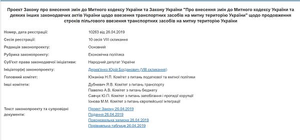 Проект Закона о внесении изменений в Таможенный кодекс и Закон Украины о продлении сроков льготного ввоза  авто