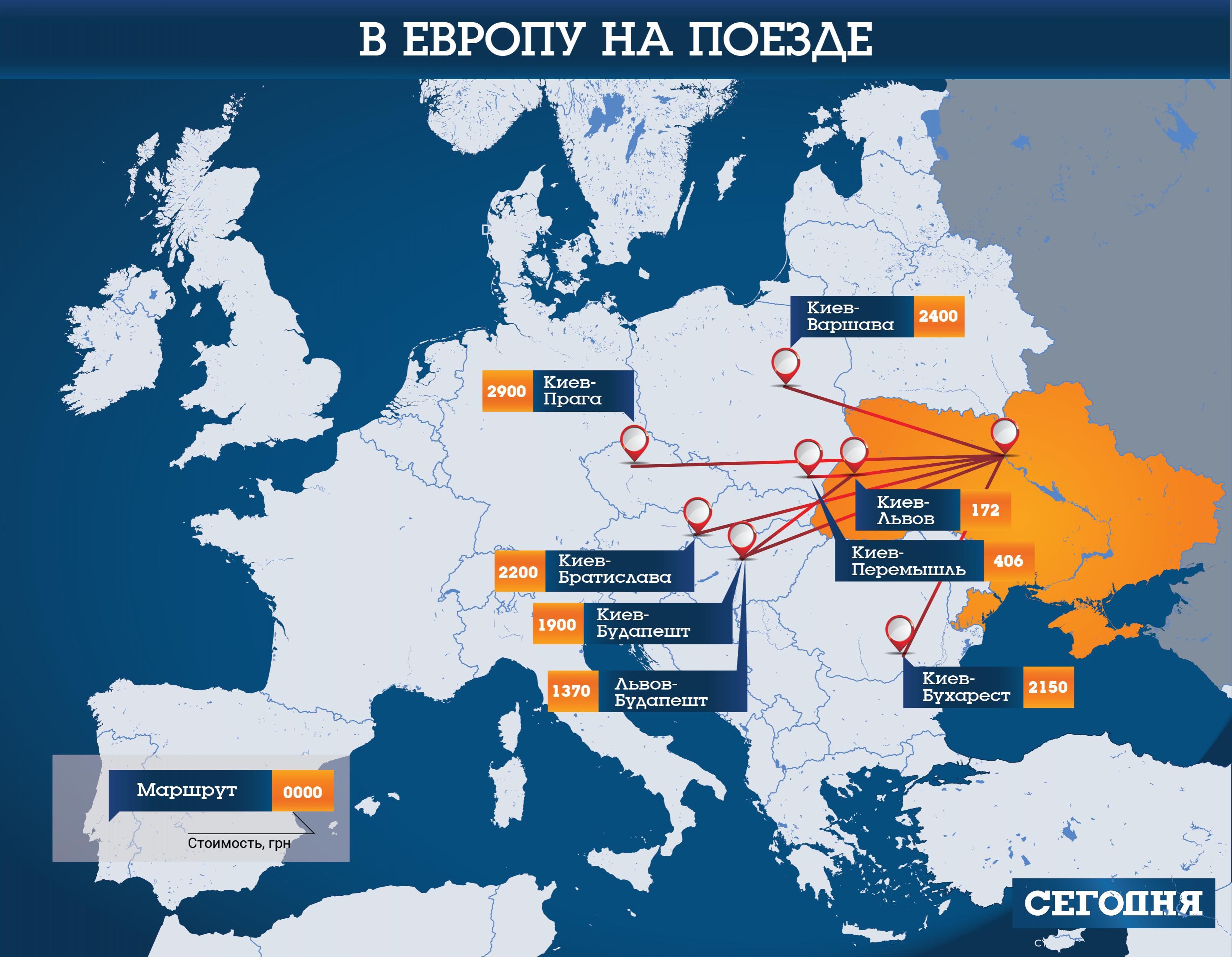 Минимальные цены в Европу на поезде
