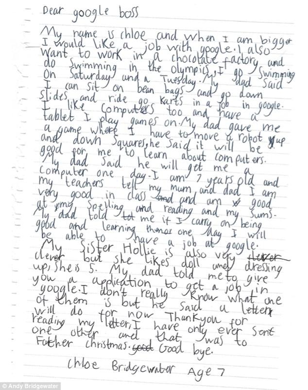 Девочка написала главе Google в свои 7 лет